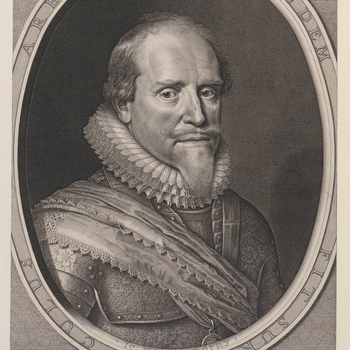 Engraving of Maurice, Prince of Orange. Bust length with beard, closed ruff, armour, and with sash over right shoulder. Within an oval border with Latin inscription below. Cut down.