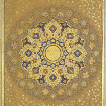 Padshahnama fol. 1.b  Ashamsa (little sun) is regularly found on the opening pages of Islamic manuscripts made for royal patrons. This shamsa is one of two that together formthe frontispiece of a seventeenth century Mughalmanuscript made
