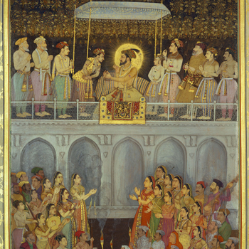 f.218b: Shah-Jahan honouring Prince Awrangzeb at his wedding (plate 45)