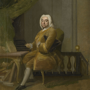 This is an oil sketch for Hudson's famous full length portrait of 1756, painted for Handel's librettist, Charles Jennens and now in the National Portrait Gallery. Though the sketch represents a near definitive state of the composition there were subse