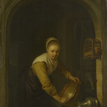Dou was born at Leiden. He was a pupil of Rembrandt from 1628 until the latter moved to Amsterdam, probably in 1631. Dou rarely travelled outside Leiden, although he was invited to England by Charles II. He was a genre painter and founder of the school of