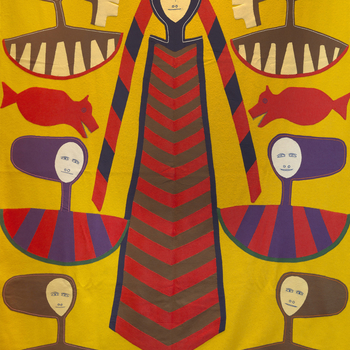 In 1973 The Queen was presented with this wall hanging by the Inuit People of the Northwest Territories of Canada. It was worked by the distinguished multi-disciplinary artist, Jessie Oonark, of Baker Lake. The hanging is of wool and felt with stitchwork