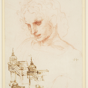 A study of the head of a youth looking down, turned three quarters to the left, with wavy hair and parted lips. The shoulders are only slightly indicated. Below are three studies of a corner bastion developed into a domed building, and a small plan of the
