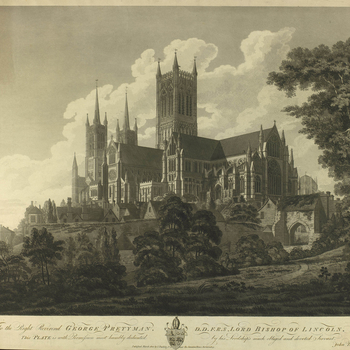 Lincoln cathedral and houses surrounding the cathedral. On paper watermarked