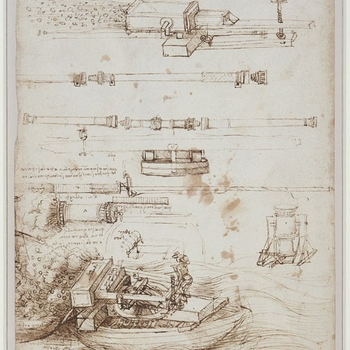This drawing shows a number of designs for gun-barrels, and mortars intended to discharge an incendiary substance known as 'Greek fire', to burn the rigging and sails of enemy ships. The largest drawing, at the bottom of the sheet, shows
