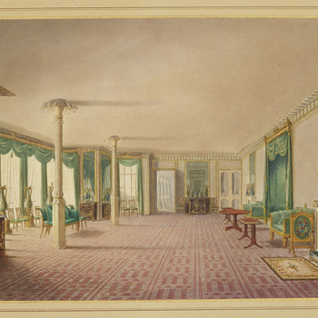 A hand coloured print depicting a view of the banqueting room gallery in the Royal Pavilion, Brighton. For an earlier state see RCIN 708000.an. Plate 19 of the reissue of Nash's original publication of illustrations of the exterio