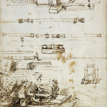 Drawing of Leonardo's inventions