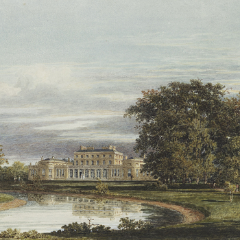 A watercolour view of the exterior of Frogmore House seen from the pond garden, depicting the central block with bay wings linked by colonnade facade withsome figures standing on the driveway. Prepared for one of the plates in William Henry Pyne's '