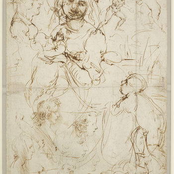 A large sketch of the Madonna and Child with the infant Baptist fills almost the whole of this sheet. The Madonna is our first sight of the kneeling figure that Leonardo returned to repeatedly during his career (cf. RCIN 912337); her head is in two positi