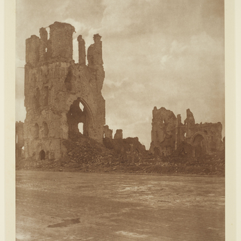 Photograph of a view&nbsp;of the ruins of the Cloth Hall, Ypres.<br /><br />The Cloth Hall, completed in 1304, was one of the largest commercial buildings&nbsp;of the Middle Ages&nbsp;and a major trading centre for the Ypres&nbsp;textile industry.&nbsp;Du