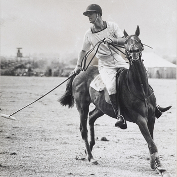 Prince Philip playing polo for Sea Horses 'B' Team against Whyishill team in a Junior League match, Cowdray Park.