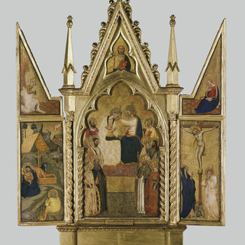 In the centre Christ, wearing a tall pointed crown, places an identical crown on the Virgin's head with both hands. One either side of them are five saints, in three tiers; to the left Paul, Bartholomew, Stephen (?), Anthony Abbot and Catherine, to