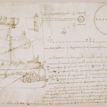 Recto: a study of a ship, and its parts including the ribs, the tiller, the bow and stern; below is the stern of a much larger ship, with a group of men sitting in the cockpit; to the right, a toothed wheel and extensive notes. Verso: the head of an old m
