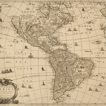 A printed map of the Americas, published in 1666. Hollar made many printed maps and views, and was appointed 'Scenographus regius' by Charles II in the year that this view was published.