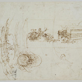 A drawing showing, on the right, within lines forming an oblong frame, a figure flying forward with outsretched arms, and another lunging forward; to its right, is a rectangular building from which emerges a lion's head and a dragon's tail. To the left is