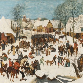According to St Matthew's Gospel, after hearing from the wise men of the birth of Jesus, King Herod ordered that all children in Bethlehem under the age of two be murdered. Bruegel set the story as a contemporary Flemish atrocity so that the soldier