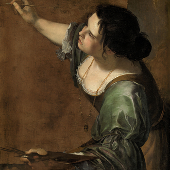 Artemisia Gentileschi was invited to London in 1638 by Charles I, and probably produced this sophisticated and accomplished self-portrait in England. She holds a brush in one hand and a palette in the other, cleverly identifying herself as the female pers