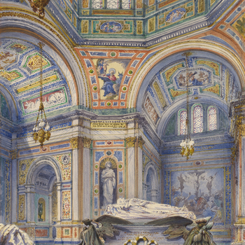 A watercolour view of the colourful interior of the Royal Mausoleum at Frogmore, looking from the chapel of the Nativity (with the corner of the statue of Princess Alice seen on the left), diagonally across to the Chapel of the Altar with Prince Albert's