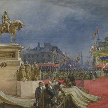 A watercolour depicting the unveiling of an equestrian statue of Prince Albert inCharlotte Square,Edinburgh, on 17 August 1876.Signed, dated and inscribed at bottom right: Inauguration of the Prince Consort Memorial. Edinburgh, 17 Aug. 1