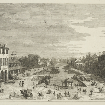 An etching of the landing place for boats at Mestre on the Venetian mainland. The building on the left in the foreground has Canaletto's chevron coat-of-arms. Thearea around the canalis filled with many figures and a wagon. Second state, Bromb