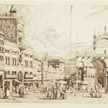 A drawing of a view in Piazza San Marco in Venice. On the left is part of the Procuratie Vecchie, and the Torre dell'Orologio - a large clock tower containing an astrological clock. On the right is part of the Basilica di San Marco. Many figures are depic
