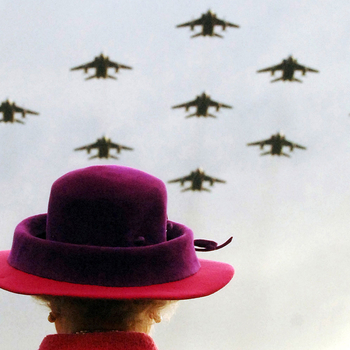 The Queen watches a flypast of RAF Jaguars during her visit to RAF Coltishall, Norfolk, 17 November 2005. Photographer: Arthur Edwards, MBE, © The Sun