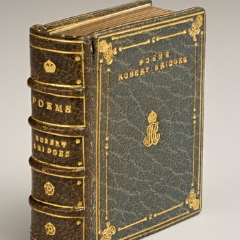Full leather bound in blue morocco, with gold tooling.Robert Bridges (1844-1930) was a poet, but trained and worked as a doctor until 1882, when a lung condition forced him to retire. After this he devoted himself to literary research and writing poetry.