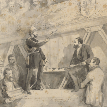A pencil and wash drawing depicting Albert Edward, the Prince of Wales,opening a new railway bridge for the Punjab Northern State Railways in Wazirabad (now in modern-day Pakistan), which crosses over the River Chenab, on22 January 1876.
