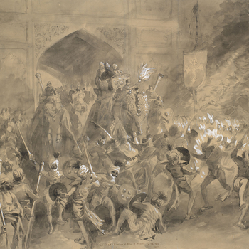 A pencil and wash drawing depicting the arrival of Albert Edward, the Prince of Wales, at Jaipur on 4 February 1876. The Prince is seated on the back of an elephant with Maharaja Ram Singh II.Inscribed, dated and signed:Arrivalof H