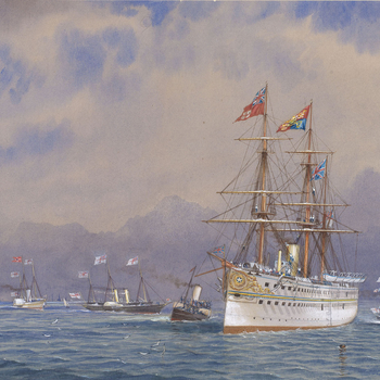 A watercolour depictinga view of HMS Serapis entering the Solent on 11 May 1876 on its return from the Prince of Wales's Indian tour. Signed and dated: WE Atkins 76.In October 1875, Albert Edward, the eldest son of Queen Victoria, embarked on