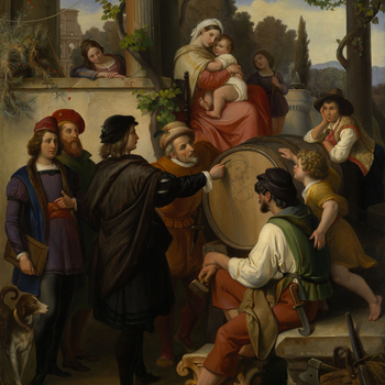 According to an often recounted legend from the life of Raphael (1483-1520), a hermit, having been attacked by wolves, hides in a tree and is saved by a vintner's daughter. In gratitude the hermit prophesises that both the tree and the girl will be