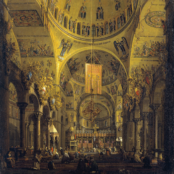 <p>This view is from the west end of the nave up to the high altar of San Marco, with the dome of the Pentecost overhead and the dome of the Ascension beyond, partially obscured by the banner. The lives of the Apostles, with the Crucifixion of St Andrew c
