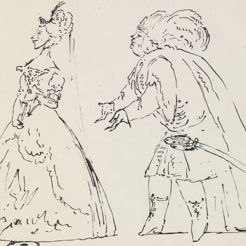 A pen and ink caricature of two singers in costume. A male singer in Oriental costume imploring a female singer, who&nbsp;faces away. Dated at the upper right corner, 1728.<br /><br />The drawing belongs to an album of operatic caricatures mainly by Marco