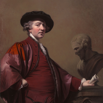 Three-quarters length, standing, facing three quarters to the right, head turned half to the right, wearing the maroon robes of Doctor of Civil Law, Oxford, with a black velvet cap; his left hand holds a scroll resting on a plinth next to a bust of Michel