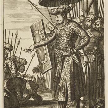 82. Schach Jehan, Supremis Mogul.<br /><br /> Plate from <em>Principum et illustrium quorundam virorum, qui in Europa alibique terrarum, qua fama, qua eruditione celebres fuerunt, verae imagines, </em>published by Lugduni Batavorum c.1700.