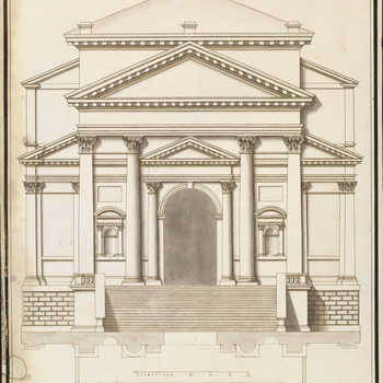 B(M) 517. Architectural elevation of an exterior in classical style: portico-front with double pediments, supported by columns and pilasters, Composite capitals. Below, plan of the front.