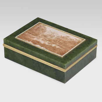 Bainbridge describes how, in his constant search for possible new pieces to add to Queen Alexandra's collection, he sent photographs of Sandringham House to Fabergé. A little while later a box arrived with an enamelled view of Sandringham House and gro