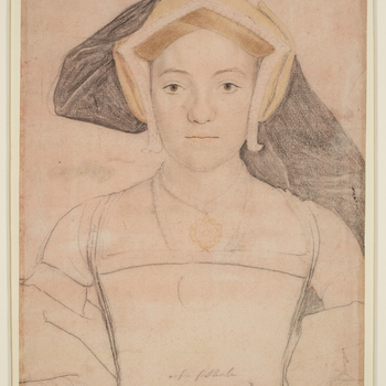 A portrait drawing of Frances, Countess of Surrey (1517-1577), wife of Henry Howard, Earl of Surrey, and daughter of John, 15th Earl of Oxford. A half-length portrait facing to the front. She wears a yellow headdress, pendant and girdle. Her dress has bee