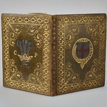 A manuscript copy of the regulations and statutes of the Windsor based Order of chivalry. Presented to King Charles I when he was Prince of Wales by his mother, Anne of Denmark, on or after his investiture into the Order in 1611.  It was rebound in 1639 f