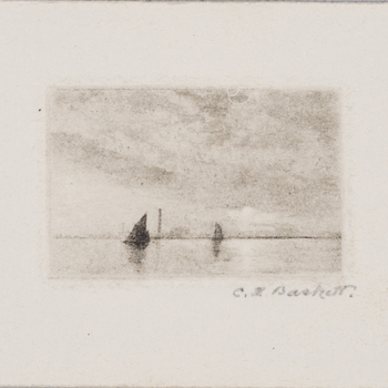 'Sailing boat on the sea' by Charles Henry Baskett (RCIN 926807)