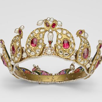 A ruby, diamond and pearl tiara formed from twelve gold, tear-shaped sections mounted with diamonds and rubies, on a gold and pearl band, with enamel portraits at back.