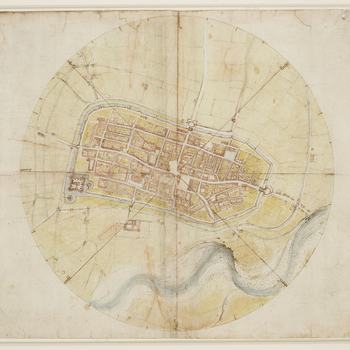 A drawing of amap of Imola, showingthe cityenclosed by a ring. Four lines cross the plan, forming on the circle eight points of the compass, at which the names of the winds are written in Leonardo's hand, clockwise from one o'clock.<br>