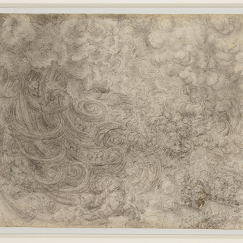 A drawing of a deluge accompanied by a thunderstorm. The great coils of rain swoop down from the left, and above them lightning plays in the sky and lights up the trees on which water-spouts are falling. Melzi's number [<em>14</em>]<em>7</em> <