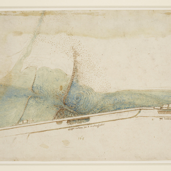 <p>A coloured plan of a weir in the Arno two miles east of Florence, showing damage to the embankment caused by the flow of water through the weir, with notes in conventional (not mirror) writing. Melzi's number <em>168</em>.</p>  <p>This exquisite m