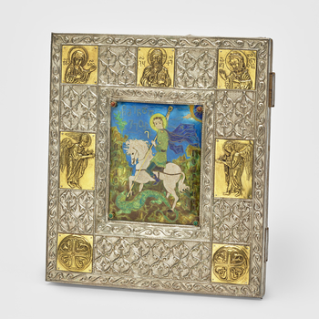 Enamel picture of St George on a white horse slaying the dragon in a green hilly abstract landscape containing Nushkuriletters. Four studs in corners of enamel, top two containing goldstone cabochons and bottom two with malachite cabochons. White me
