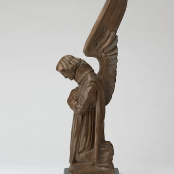 Reduced bronze sculpture of one of the four flanking bronze Archangel Seraphiels from the central shrine at the Scottish National War Memorial at Edinburgh Castle.