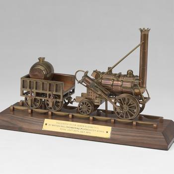 A brass model of Robert Stevenson's steam engine & tender