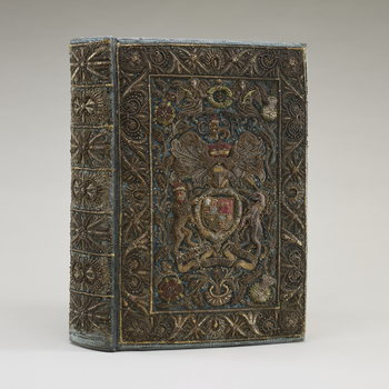 Bound in blue velvet, embroidered with coloured silks, silver and silver-gilt wire; fore-edge painting of the Royal arms.<br /><br />This splendid Bible, and its companion Prayer Book (RCIN 1142253), were probably bound for Charles II's Chapel or Royal Cl