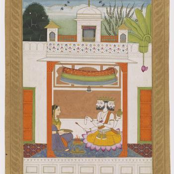 Illustration of the musical mode <em>khambhavati ragini</em>: a lady performing a worship ritual before a figure of Brahma. Sitting under a canopy on a palace terrace, the four-headed Brahma holds a <em>lota</em> (water vessel), the <em>Veda</em>s (religi