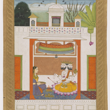 Illustration of the musical mode khambhavati ragini: a lady performing a worship ritual before a figure of Brahma. Sitting under a canopy on a palace terrace, the four-headed Brahma holds a lota (water vessel), the Vedas (religious text), a rosary and a b